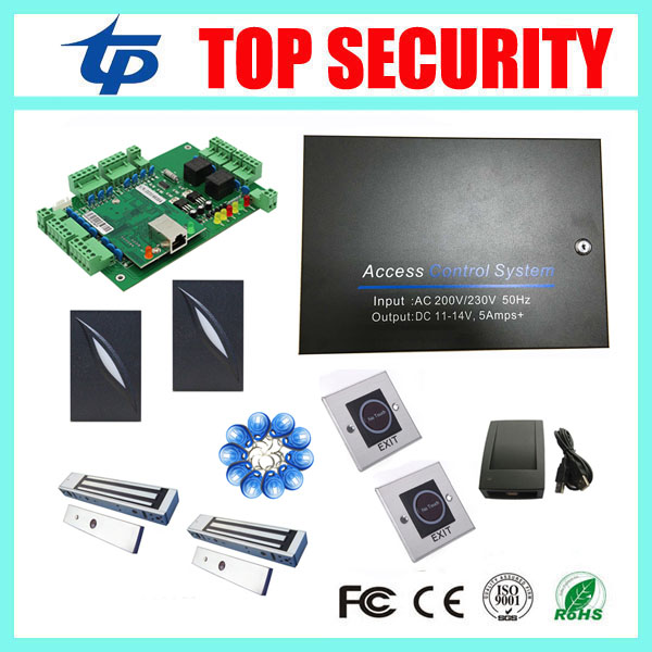 Free shipping 2 doors access control board L02 door access control system with power supply box and 600lbs electric lock