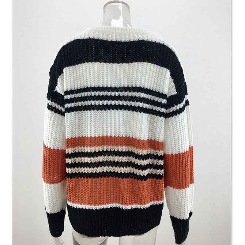 Stripe Printed Knitted Sweater Women Pull Femme Big O Neck Jumper Pullover Sweater Casual Warm Sweaters Winter Clothes E1977 in Pullovers from Women 39 s Clothing