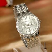 2015 nuevas mujeres de la manera de lujo compacto reloj femenino, placa de acero inoxidable, pulsera de perlas de cristal relojes de marca, envios gratis