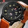 Naviforce marca sports relógios 30 m à prova d' água data semana de exibição 3d black dial brown pulseira de couro moda casual relógios de pulso