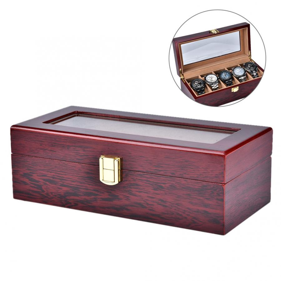 High Quality Watch Cases 5 Grids Wooden Painted Watch Display Storage Case Watch Jewelry Organizer Box For Watch Collection d | Watch Boxes