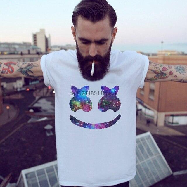 bccd95cf765 MARSHMELLO Face-Galaxy white t-shirt DJ Party EDM Mello Logo House Dacne  Music