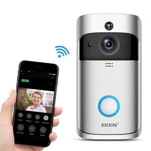 Image 4 - EKEN V5 wideodomofon, inteligentny, bezprzewodowy, Wi Fi, dzwonek do drzwi zapewniający bezpieczeństwo, nagrywanie wizualne, domowe urządzenie kontrolne, noktowizor, intercom domofon do drzwi