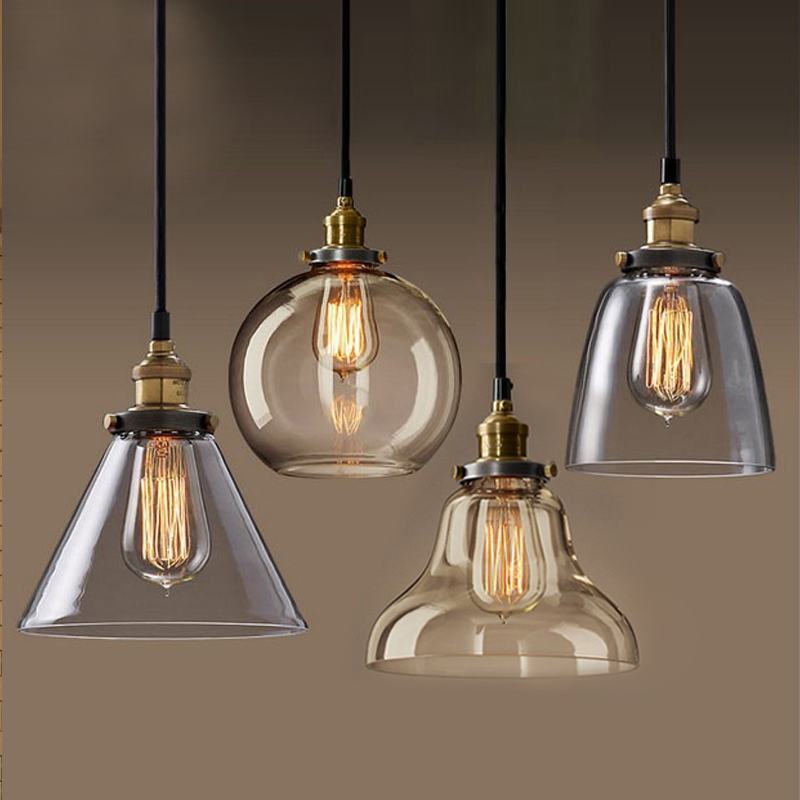Light bulb pendant light copper glass restaurant pendant ...