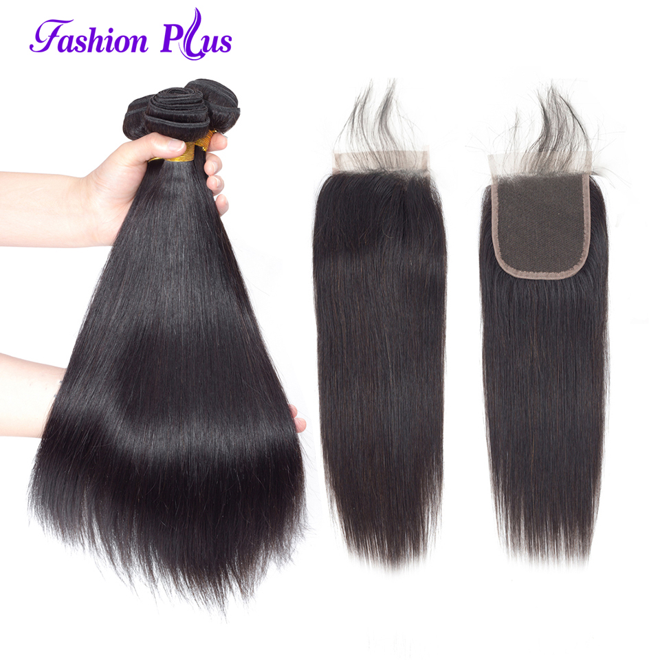 Fashion Plus 3 Bundles Brazilian Straight Hair Bundles With Closure Remy Hair Weave Bundle Free Part Lace Closure With Baby Hair