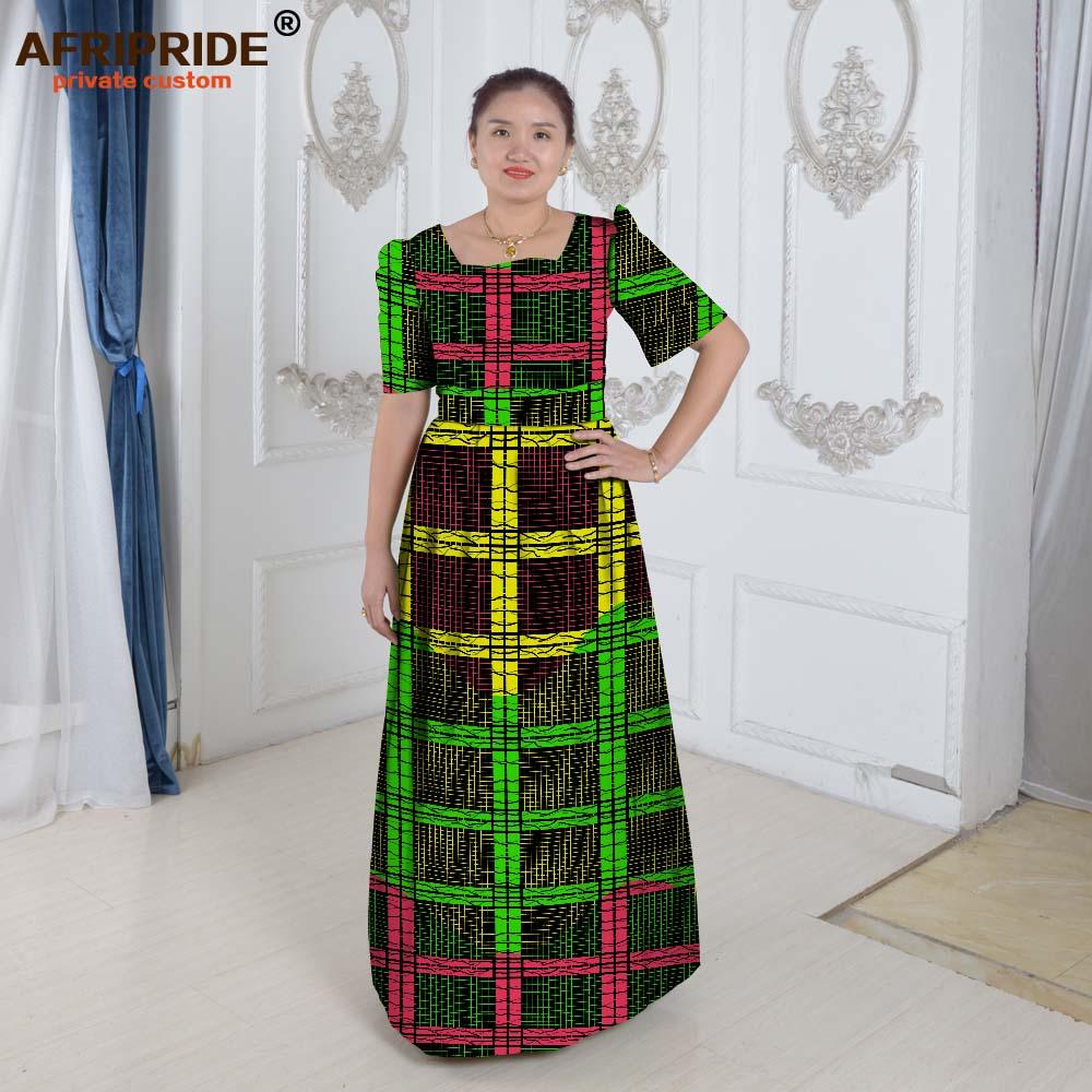 Aafrika kleidid naistele Aafrika riided elegantne printsess stiil printida puuvilla põrandapikkus eratellimus pluss suurus waxA622508