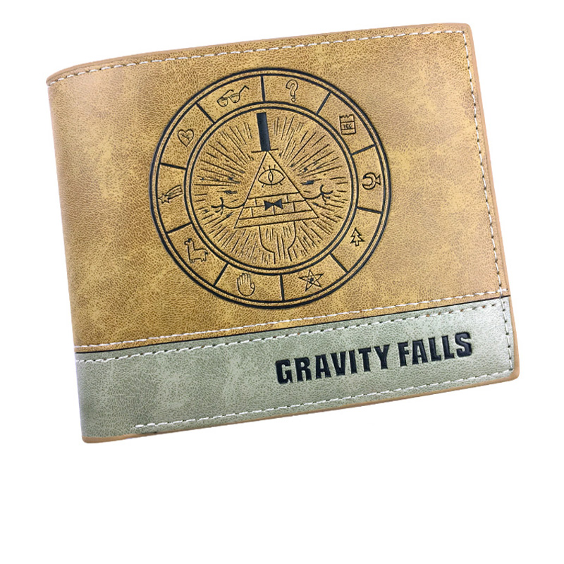 Gravity Falls Anime Cartoon Men Women Boys Girls Short Leather Bi Fold Wallet Purse Money Holder