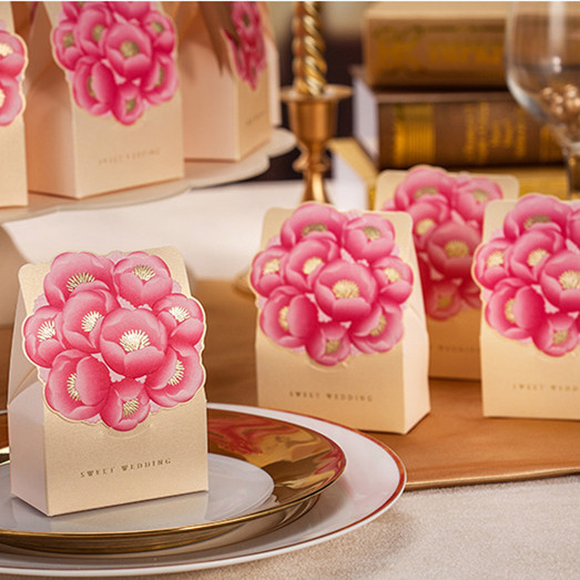 Flowers Wedding Gift Box Elegant Gold Luxury Decoration Laser Cut Party Sweet Favors Guest Paper Candy On Aliexpress Alibaba