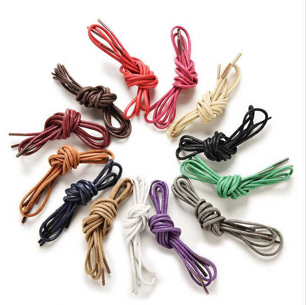 1Pair 8 Colors  Laces Strings Round Waxed Martin Boots Shoes Cord Ropes Shoelaces For Leather Shoes