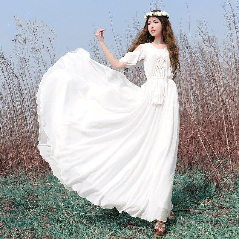 Spring Summer Bohemian White Chiffon Maxi Dress Women Elegant White Vintage Retro Handmade Fringe Fairy Beach Long Dress Robe
