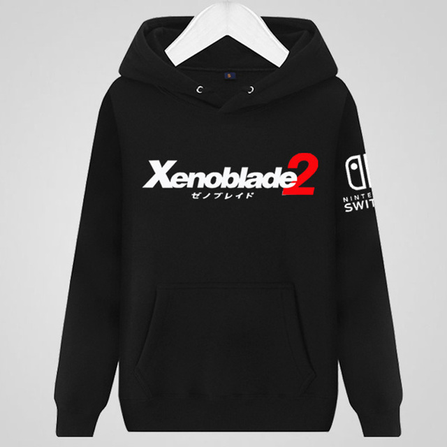 d8b0ac3658f 2017 Game Xenoblade 2 Hoodies Printing Pattern Black Cotton Mens Casual  Hooded Pullover Sweatshirts Coats
