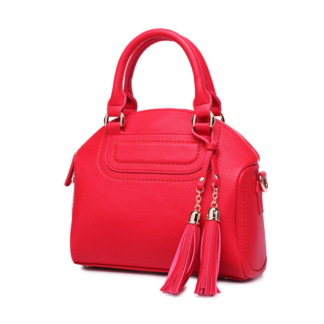 New 2016 Fashion Brand PU Leather Women Handbag Leather Tassel Shoulder Bag Casual Women Shell Bag