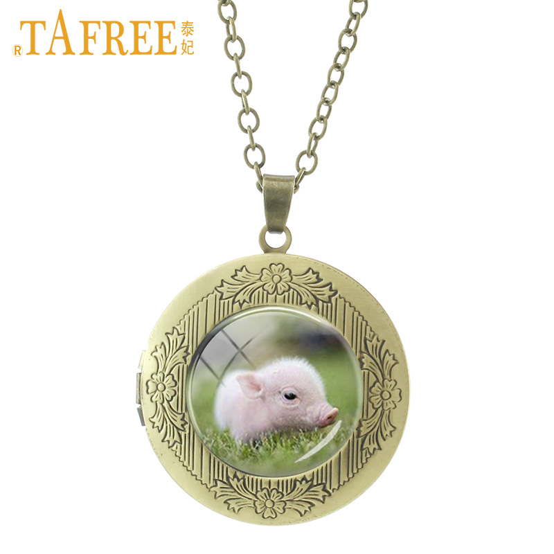 TAFREE Baby Piglet Pig Pendant Locket Necklace Hot Sale Amazing Fashion Glass Art Pet Dog Lover For Women Men Jewelry Gifts N606