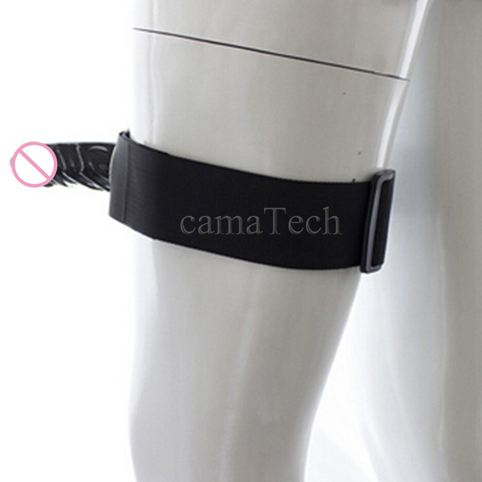 camaTech Lesbian Veined Realistic Penis Strap On Thigh Silicone font b Dildo b font W Adjustable