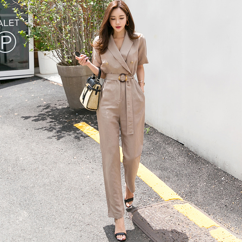 V-neck Sashes Buttons Solid Women   Jumpsuit   OL Pockets Short Sleeve Casual Long Rompers Fashion Summer Playsuits 2018