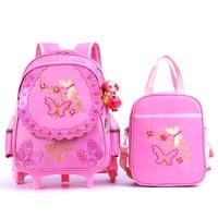 Girls School Backpack With 3 Wheels Butterfly Children Backpacks for Girl Waterproof Kids School bag Trolley Backpack 2pc/set