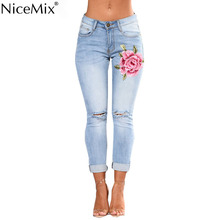 NiceMix 2019 Plus Size Jeans Woman Casual High Waist Flower Embroidery Denim Pants Skinny Ripped Pencil Femme