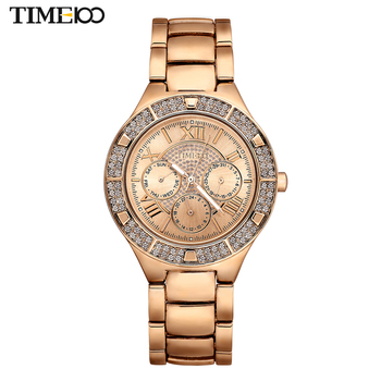 TIME100 Women's Quartz Watches Gold Silver Alloy Strap Rhinestone Waterproof  Dress Ladies Bracelet Watches relogio feminino