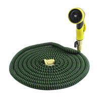 Scalable garden hose, 25FT 100FT extended extra strength stretch fabric lightweight soft hose with 9 mode nozzle for car garden