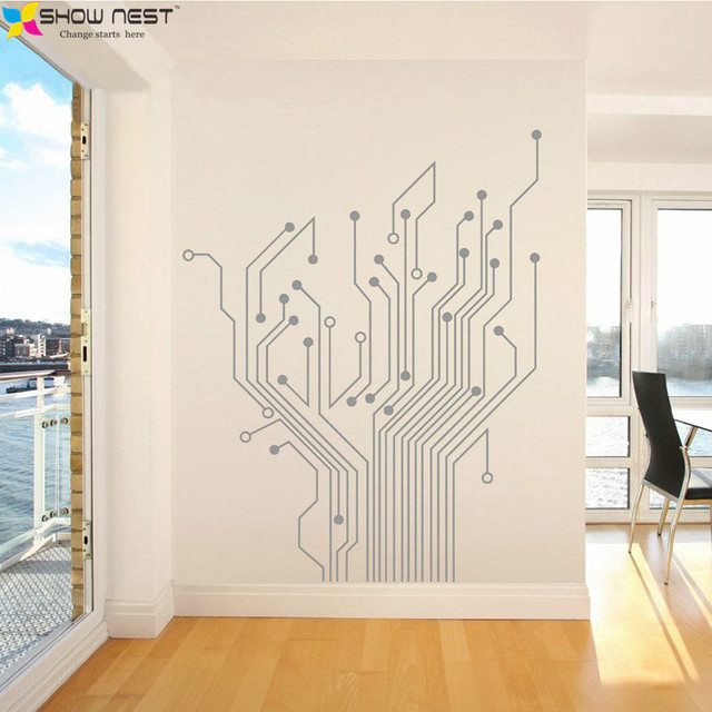 circuit tree contempory art mural wall sticker home decor stickers
