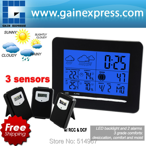 Indoor/Outdoor Temperature Digital Wireless Weather Station Radio Controlled Clock RCC DCF Date Calendar + 3 sensors weather station digital lcd temperature humidity meter