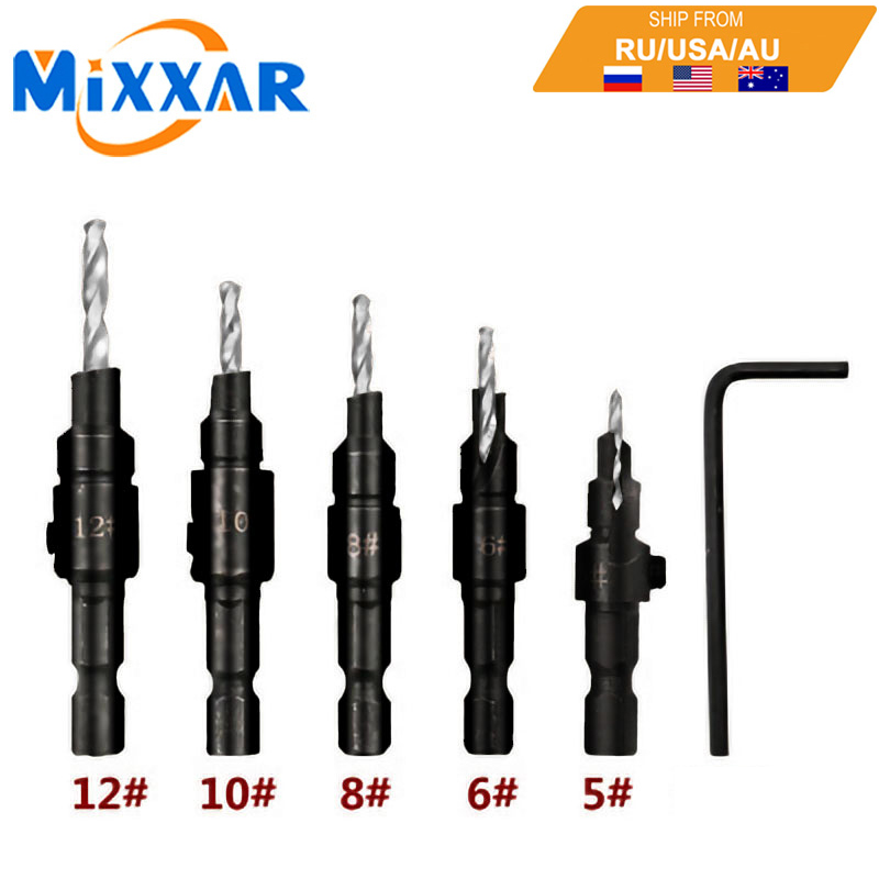 Dropshipping 5pcs Countersink Drill Woodworking Drill Bit Set Drilling Pilot Holes For Screw Sizes #5 #6 #8 #10 #12#14