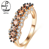 ZHE FAN Vintage Ring Black Gold Color 2 Tone Plating AAA CZ Flower Engagement Rings For
