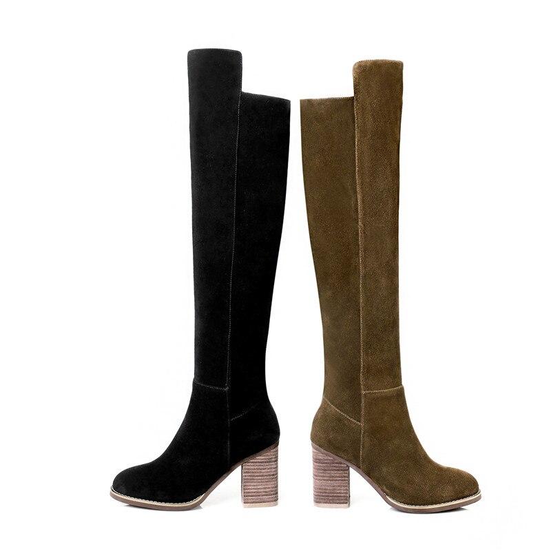 Bottes Chaussures Bout Zip Bal Fur black Dames Automne Talons Hautes 33 Not Hauts 41 Taille Black Femmes 2018 army Hiver Fur Mode With Fur Rond Green Épais De Asumer AwOYq8Ix6y