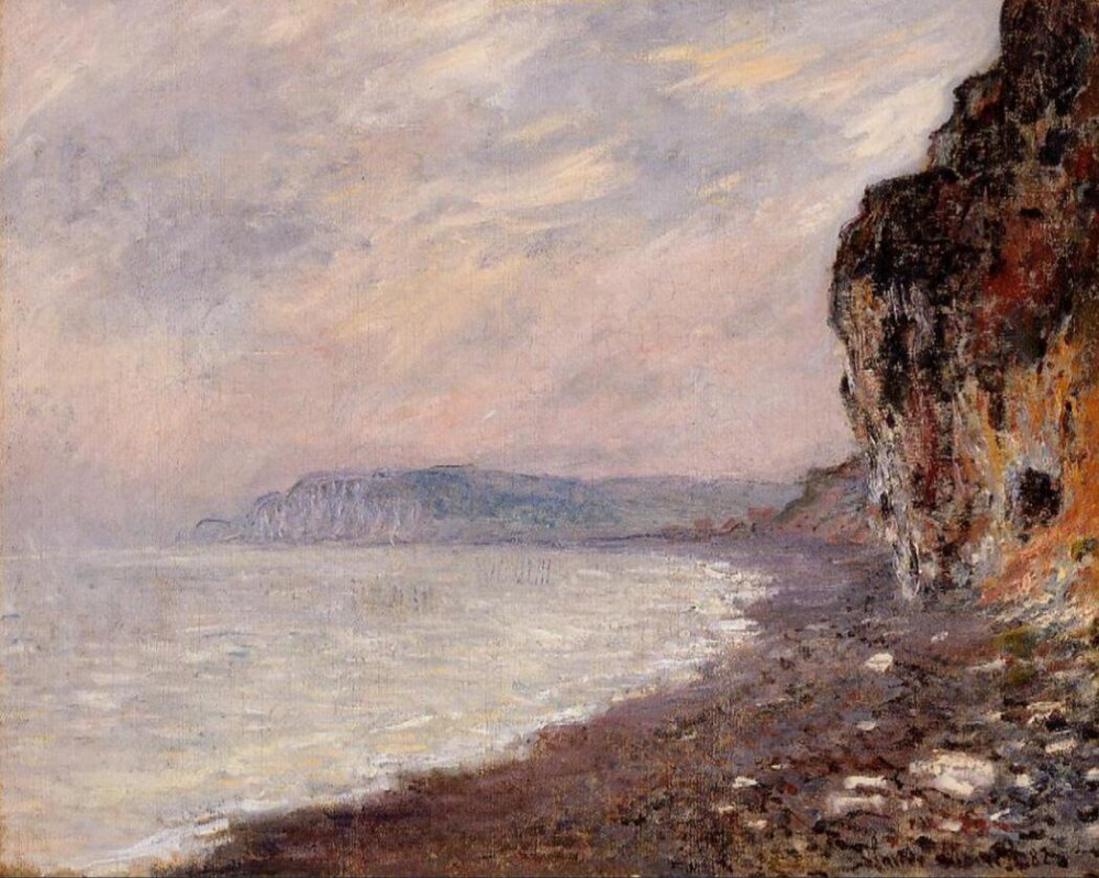 High quality Oil painting Canvas Reproductions Cliffs at Pourville in the Fog (1882)  by Claude Monet hand paintedHigh quality Oil painting Canvas Reproductions Cliffs at Pourville in the Fog (1882)  by Claude Monet hand painted
