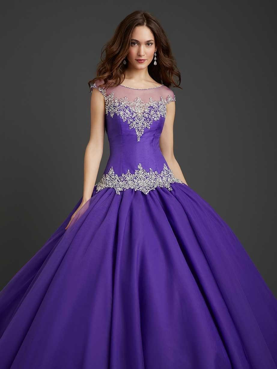 Elegante escarpado del cuello Vestidos quinceañera Organza púrpura ...