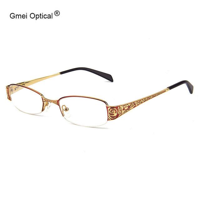 Recentes Liga Retângulo de Metal Meia-Rim Mulheres Eyglasses Frames Com Design Em Templos Óculos Mulheres Frame Ótico Eyewear