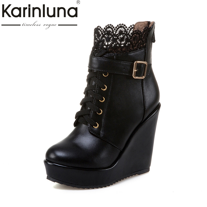 KarinLuna 2018 New Arrivals Platform Large Size 34-43 Ankle Boots Women Shoes Boots Fashion Wedges High Heels Woman Shoes morazora fashion punk shoes woman tassel flock zipper thin heels shoes ankle boots for women large size boots 34 43