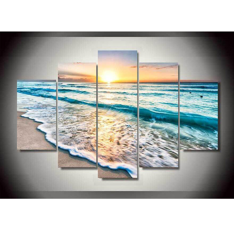 canvas printings seascape sunset beach sand painting wall art home decoration canvas framedchina