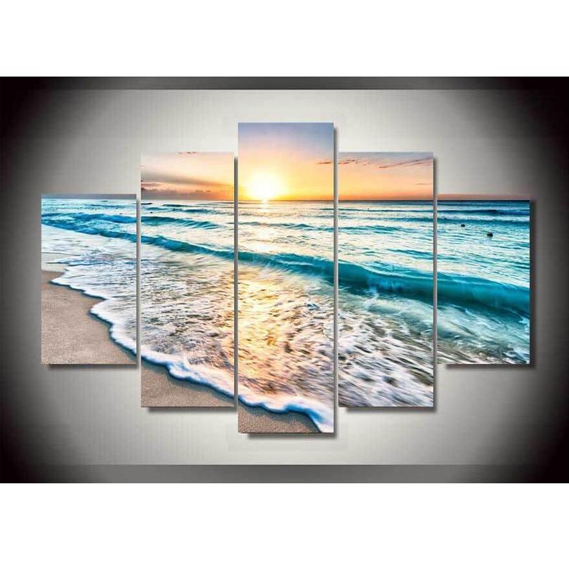 canvas printings seascape sunset beach sand painting wall art home decoration canvas framedchina
