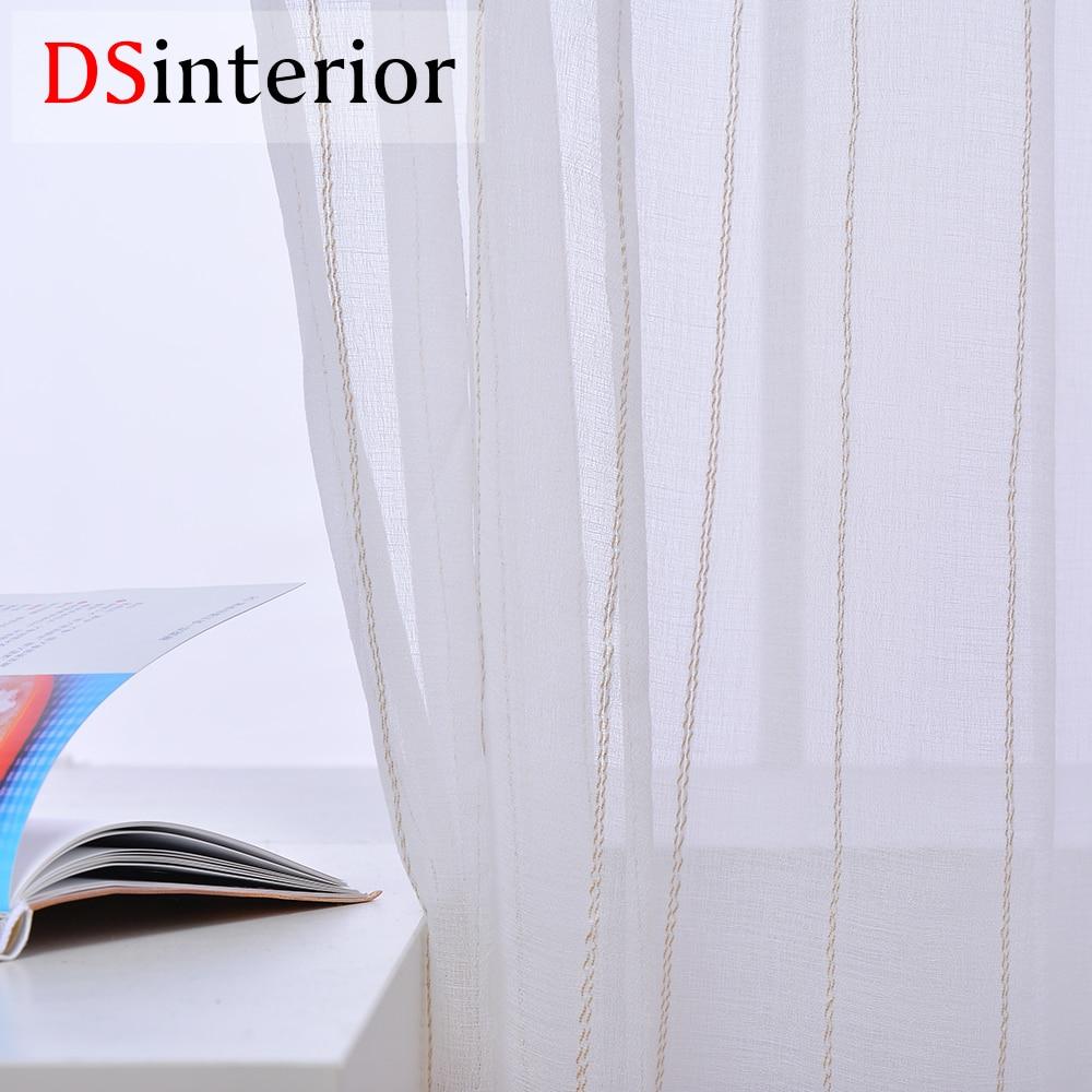 DSinterior pruhovaný vzor bílá tylová záclona záclona pro ložnici okna obývacího pokoje