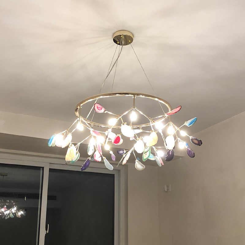 Современный красочный кулон из агата огни Светлячок люстра c плафонами Lamparas подвесной светильник для столовой