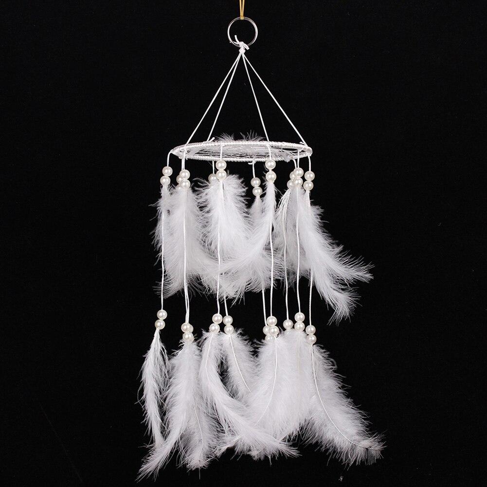 Capteur de rêves fait à la main avec des plumes carillons éolien décoration de voiture artisanat cadeau blanc chambre décor adesivos para parede