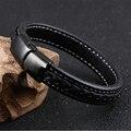 Hombres Pulsera de Acero Inoxidable Nueva Joyería de Moda Cierres Magnéticos Pulseras de Cuero Negro Cadena cordón de La Vendimia Hombre Brazaletes TY1101