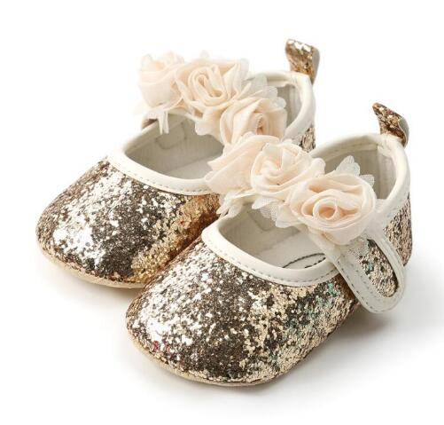 Fashion Baby Girls Shoes Bling Soft Sole Newborn Prewalkers Shoes Floral Style Infant Toddler Baby Moccasins Party Shoes