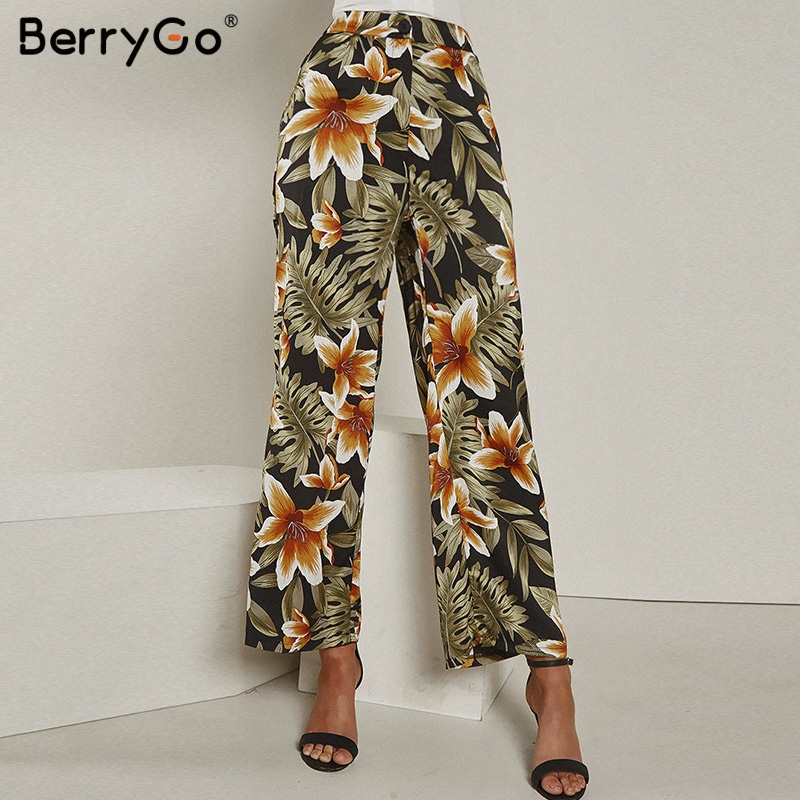 BerryGo Casual floral print women long trousers plus size High waist wide leg casual summer   pants   Vintage green female   capris