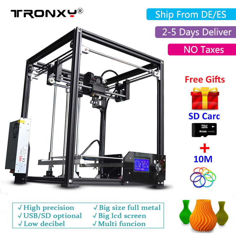 Tronxy 3D Printer Kit i3 Metal Aluminium Frame with LCD Extruder Large Printing Area 210*210*280mm high precision diy 3d printer upgarded aluminium cube 3d printer kits bapasco x5 full metal extrusion high precision 12864p lcd big printing size 210 210 280