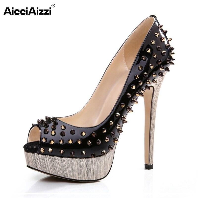 ФОТО Women High Heel Shoes Brand Quality Platform Peep Open Toe Pumps Lady Fashion Sexy Gladiator Rivets Shoes Women Size 35-46 B072