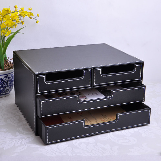 3 Layer 4 Drawer Wood Structure Leather Desk Filing Cabinet Storage Box  Office Organizer