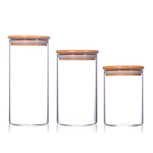 Bamboo cover glass Sealed jar travel Portable box bottle mason jar heat resistant Canister tea caddy Food packaging jars spices