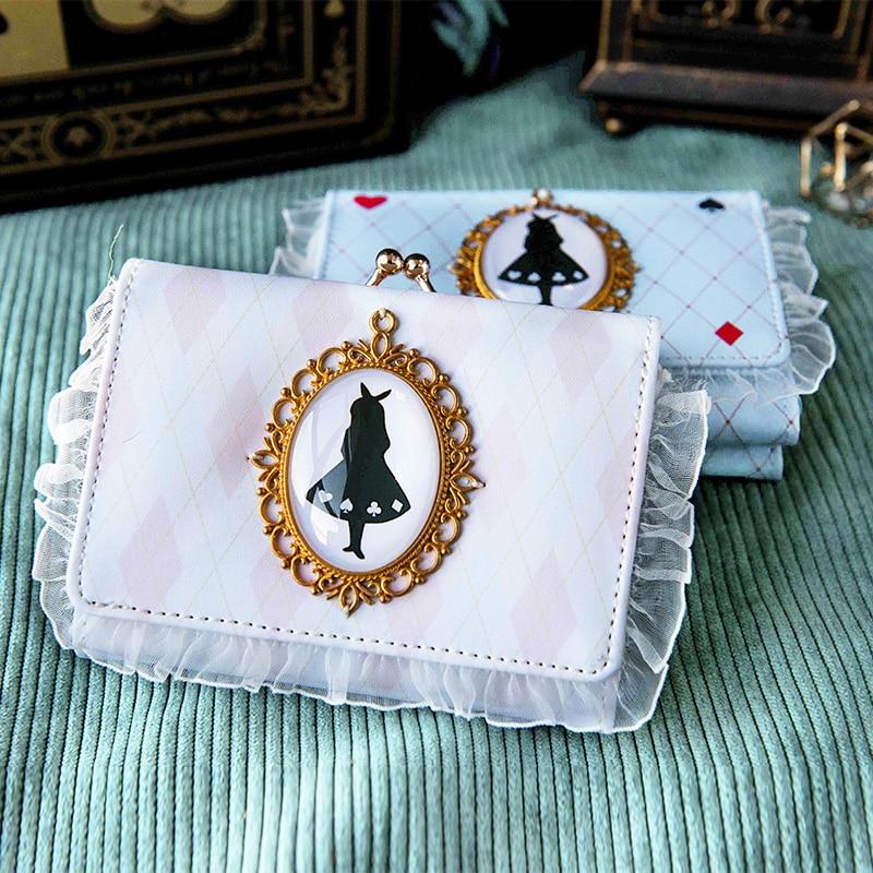 Harajuku Anime Alice Figure Print Cosplay PU Wallet Lace Lolita Short Purse Card Bag Kawaii Princess