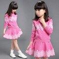 Дети девушки Одежда набор Розовый и Фиолетовый Вязание Девушки Топы + Юбки Мода девушка вязаная одежда