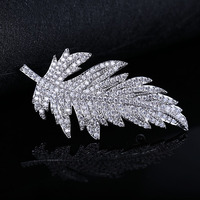 New Broche Mujer Vintage Pin Maple Brooch Silver color Brooches Full Of Crystal Zircon Leaves Unisex Brooches For Women LB27
