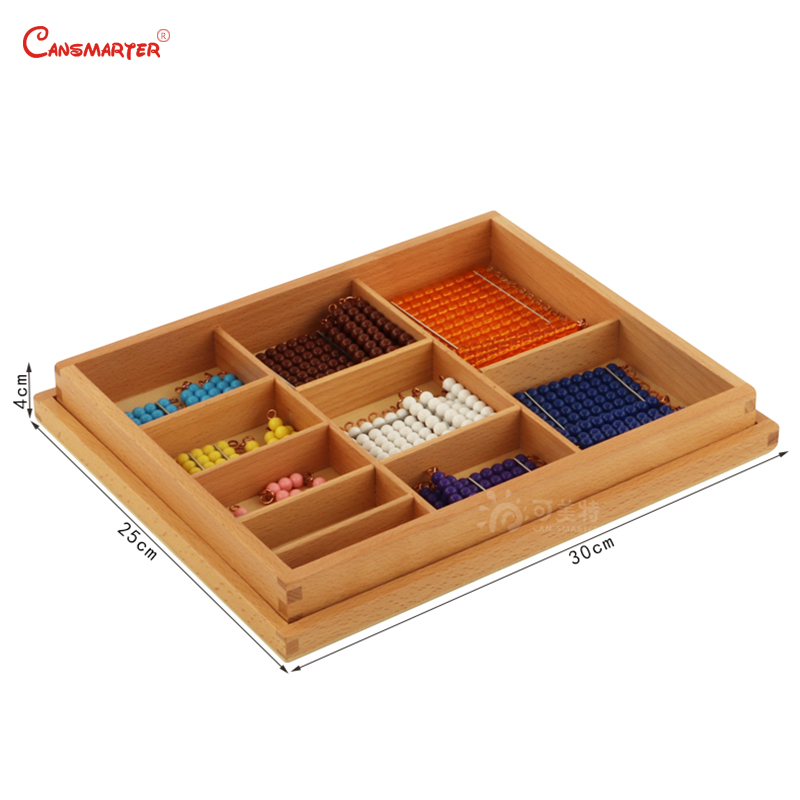 Math Toys Teaching Preschool Short Bead Chain Box Beech Wood Kids Games Learning Educational Toy Montessori