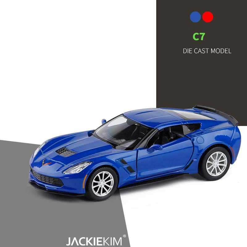 1/36 Chevrolet Corvette C7 Metal Diecast Cars Toy With Pull Back Alloy Car Model Vehicle Miniature For Birthday Kids Toys Gifts