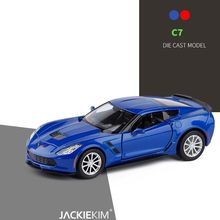 1/36 Chevrolet Corvette C7 Metal Diecast Cars Toy With Pull Back Alloy Car Model Vehicle Miniature For Birthday Kids Toys Gifts(China)